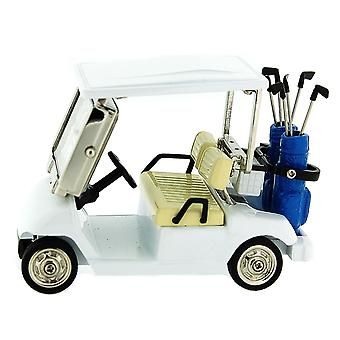 Miniature Golf Buggy - Cart Cream & Silver Novelty Collectors Desktop Clock 0610