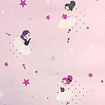 Glitter Sparkle Ballerina Wallpaper Girls Pink White Stars Floral Nursery Ugepa