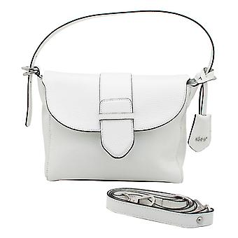 Abro White Leather Shoulder Strap Handbag