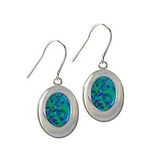 Eternal Collection Idaho Dark Blue Opal Silver Tone Drop Pierced Earrings (MM)