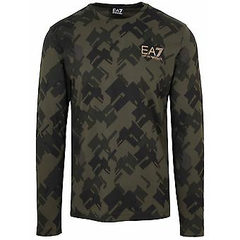 Ea7 Khaki Printed Long Sleeve T-Shirt