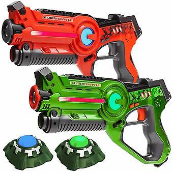 2 laser guns Orange/green + 2 targets