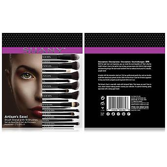 SHANY Artisan's Easel Bamboo – Elite Cosmetics Brush Collection - Complete Kabuki Makeup Brush Set with Standing Convertible Brush Holder - 18 pcs