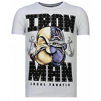 Iron Man Popeye-Rhinestone T-shirt-White