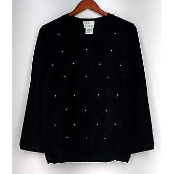 Quacker Factory Top Long Sleeve Embellished Black