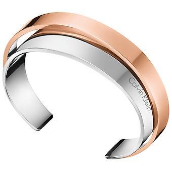 Calvin Klein Unite Rose Gold Silver Stainless Steel Ladies Bangle KJ5ZPF20010M