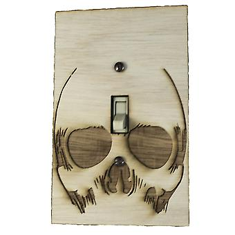 Skull (n284) switch plate - raw wood - 3.6