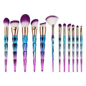 Makeup børste sæt, 12 børster-tre farve Ombré