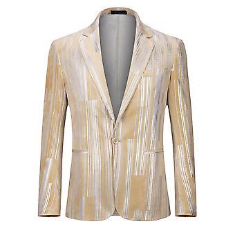 Allthemen Uomini's Blazer Geometric Lines Argento Colore brillante banquet Giacca Giacca