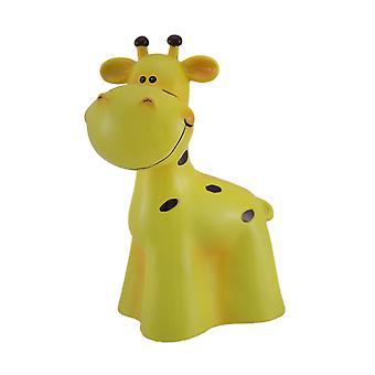 Viehättävä keltainen ja musta kirahvi lasten rahaa pankkiin
