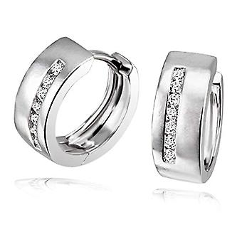 Goldmaid Silver Women's Earrings Oxidized Round White