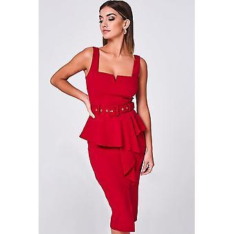 Papirdukker Adira rød peplum frill belte MIDI kjole