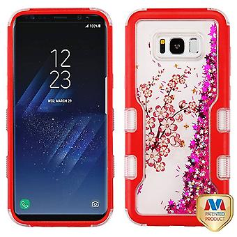 MYBAT Natural Red/Spring Flowers & Hot Pink Meteor Shower TUFF Quicksand Glitter Hybrid Case for Galaxy S8 Plus