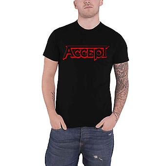 Accept T Shirt Red Band Logo new Official Mens Black