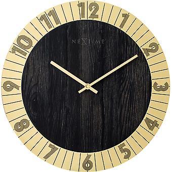 NeXtime - Wall clock - Ø 35 cm - Wood/Metal – Gold – 'Flare'