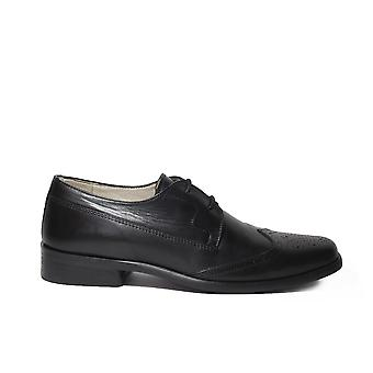 Petasil Topper Black Leather Boys Formal Lace Up Brogue School Shoes