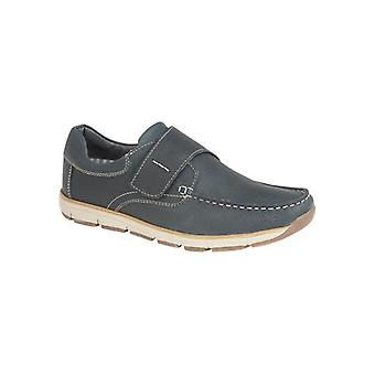 Roamers Serge Mens Leather Touch Fasten Moccasin Shoe Navy
