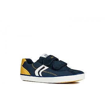 GEOX Kilwi Boys Touch Fasten Casual Trainers Navy/geel