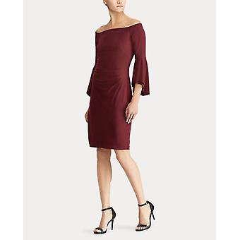 Lauren Ralph Lauren Women's Off The Shoulder Bell Sleeve Jersey Sheath Dress