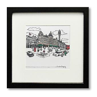 London Cityscape Framed Print Picture City View 28x28cm Black Square Deep Box