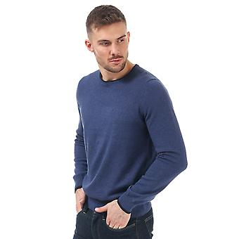 Mens Ben Sherman Tipped Crew Neck Knit In Navy