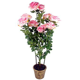 90cm (3ft) Artificial Rose Tree Large Plant Pink in Ceramic Planter