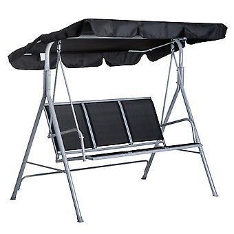 Outsunny Metal Swing Chair Garden Hammock Patio Bench 3 Seater Rock Shelter Shade Black