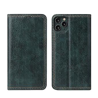 For iPhone 11 Pro Max Case PU Leather Wallet Protective Cover Kickstand Green