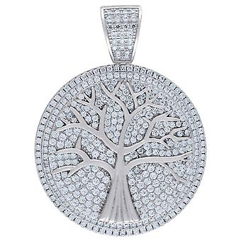 925 Sterling Silver Mens CZ Cubic Zirconia Simulated Diamond Cubic Zirconia Round Tree Nature Charm Pendant Necklace Jew