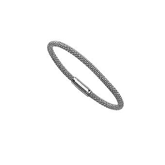 925 Sterling Silver Rhodium Plated 3.7mm Sparkle Cut Magnet Beaded Bracelet 7.50 Inch Jewelry Gifts for Women