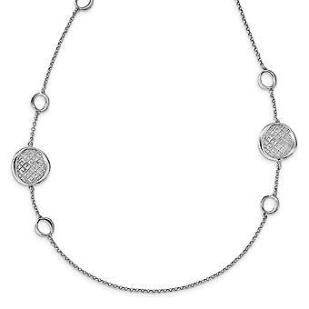 925 Sterling Silver Rhodium pläterade Filigree Halsband 32 Tums smycken Gåvor för kvinnor - 14,3 gram