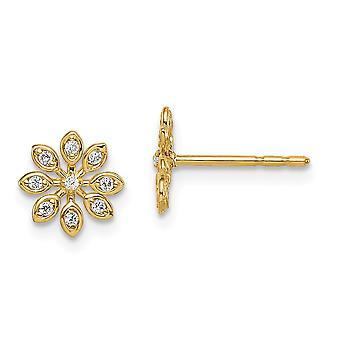14k Madi K CZ Cubic Zirconia Simulerad Diamond Flower Post Örhängen Smycken Gåvor för kvinnor