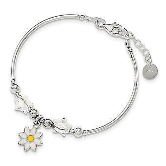 925 Sterling ezüst polírozott fiúk nak vagy lányoknak Zománc Virág és Csillag Crystal Karkötő 6 Inch