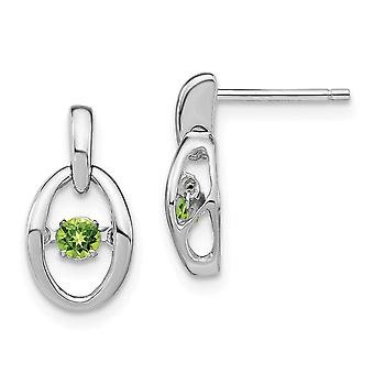 7.4mm 925 Sterling Silver Rhodium Peridot Vibrant Earrings Jewelry Gifts for Women - .20 cwt