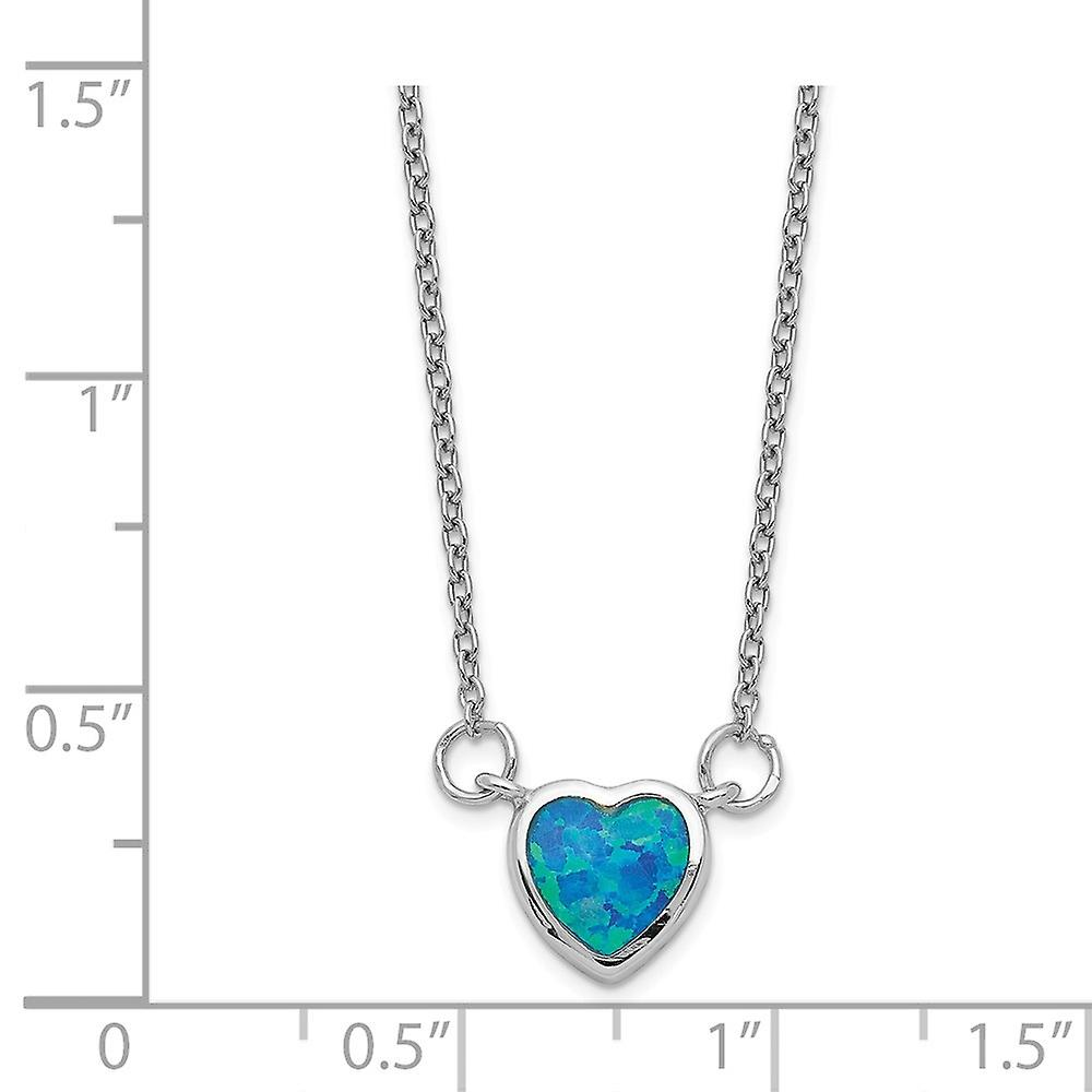 925 Sterling Silver Rhodium plated Simulated Opal Love Heart Pendant Necklace With 4inch Ext. Choker 12 Inch Jewelry Gif