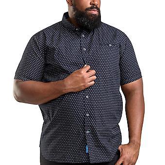 Duke D555 Mens Anton Big Tall King Size Geo AO Print Cotton Button Up Shirt Navy
