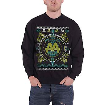 Asking Alexandria Christmas Jumper Sweatshirt Xmas Lights Official Mens Black