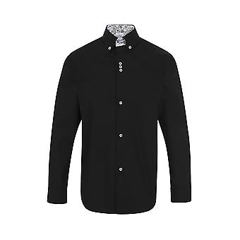 JSS Black Regular Fit 100% Cotton Shirt With Navy Button Down Collar