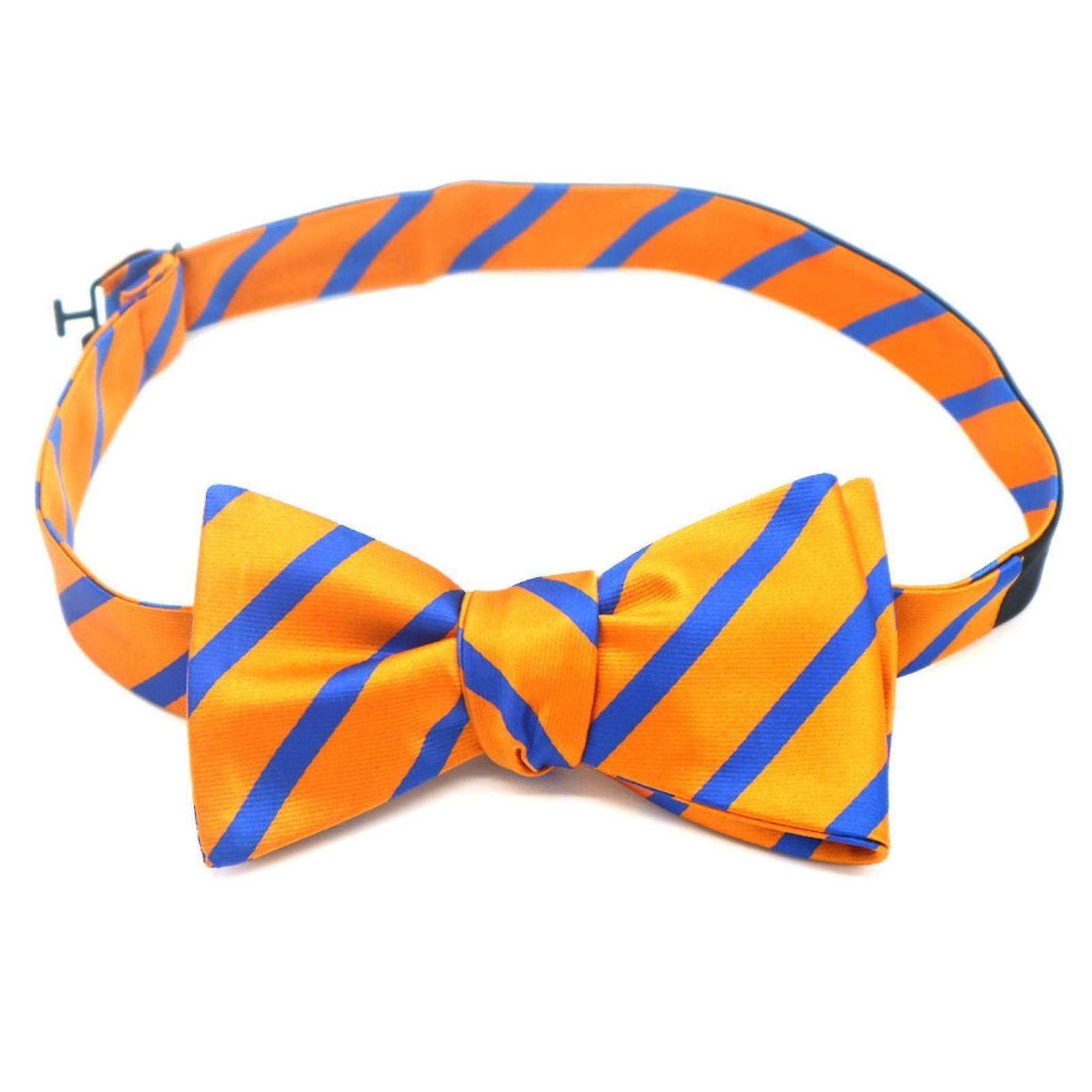 Orange & blue stripe self tied bow tie & pocket square