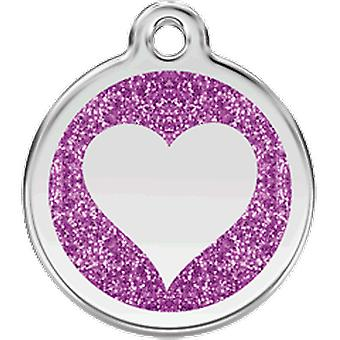 Red Dingo Identity Plate Heart Shine S - Purple 20 mm