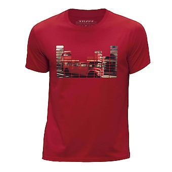 STUFF4 Boy's Round Neck T-Shirt/Equalizer/London Bus/Red