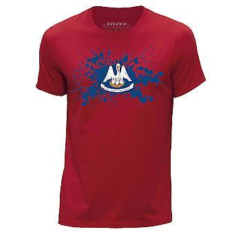 STUFF4 Mannen ronde hals T-T-shirt / / Louisiana USA Braziliaanse vlag Splat/rood