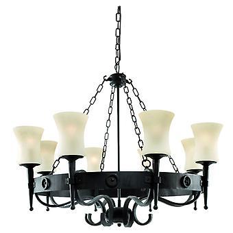 Cartwheel - 8 Light Ceiling, Black Scavo Glass