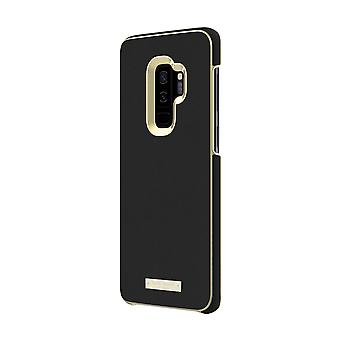 kate spade Saffiano Leather Wrap Case for Samsung Galaxy S9+ - Black / Gold Logo Plate