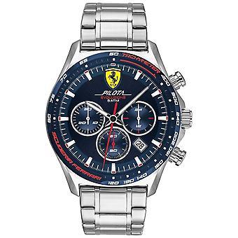 Scuderia Ferrari | Men's Pilota Evo | Stainless Steel Bracelet | Blue Dial 0830749 Watch