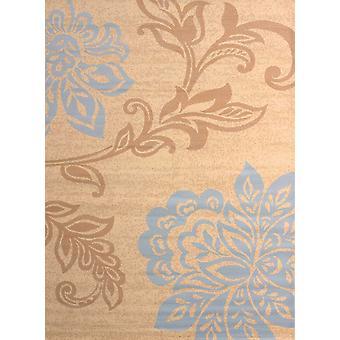 5' x 7' Nykyaikainen suuri kukka beige ja sininen aluematto