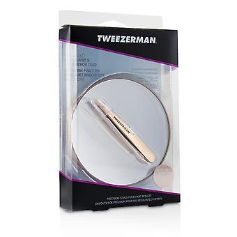 Rose gold mini slant tweezer and 10 x mirror 214097 -