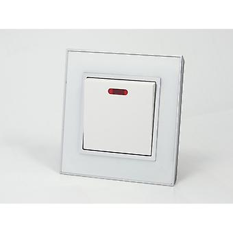 I LumoS AS Luxury White Mirror Glass Single Switched 20A Switch