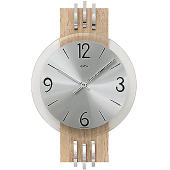 AMS 9228 wall clock quartz analog silver wood Sonoma look with aluminum and glass