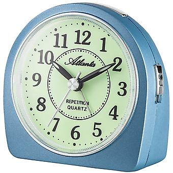 Atlanta 1586/5 alarm clock quartz analog blue quietly without ticking with light Snooze
